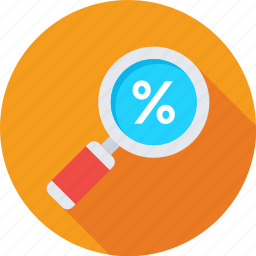 discount, magnifier, magnifying glass, search, searching tool icon