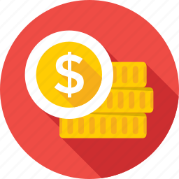 cash, coins, currency, currency notes, dollar coins icon