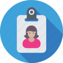female, id badge, identity card, student card, volunteer card icon