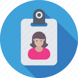 female, id badge, identity card, student card, volunteer card icon