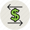 arrows, currency exchange, currency value, dollar, finance, left and right, stock market icon