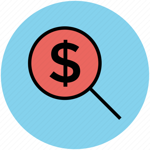 business, dollar, dollar search, magnifying, money, zoom icon