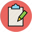 clipboard, edit, office supply, pencil, school supply, writing icon