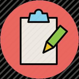 clipboard, edit, office supply, pencil, school supply, writing icon