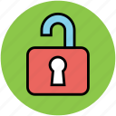 access, open lock, padlock, privacy, private, unlock icon
