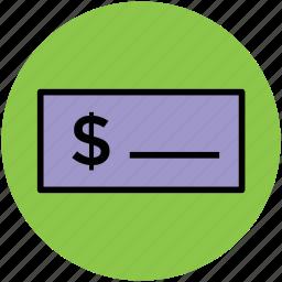 bank receipt, bank slip, bill, cheque, invoice, voucher icon
