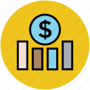 analysis, analytics, dollar graph, finance, financial chart, statistics icon