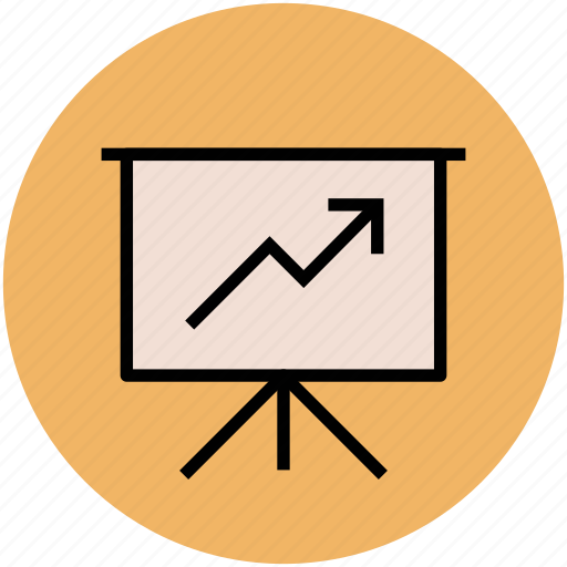 business graph, business stats, easel, presentation, projection screen icon