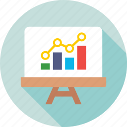 analytics, chalkboard, graph, graph presentation, presentation icon