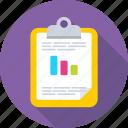 bar graph, business graph, clipboard, graph report, memo