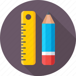 draft tool, lead pencil, pencil, ruler, scale icon