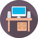 computer table, desk, monitor, office desk, workstation icon