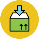 add goods, delivery box, delivery package, down arrow, packaging, parcel icon