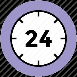 around the clock, customer service, customer support, service, twenty four hour icon