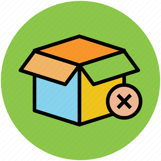 carton box, delete sign, opened box, package box icon