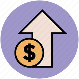 cost, currency value, dollar up, market value, stock market, up arrow icon