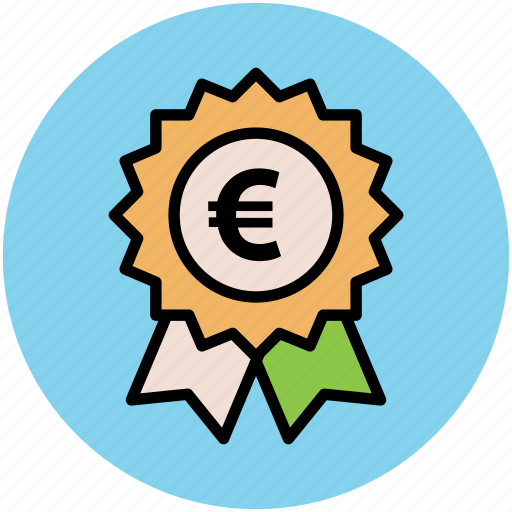 award, business achievement, euro sign, financial concept, investment, ribbon badge, stamp icon