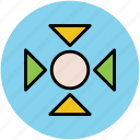arrow pointing, center, inwards, location, navigational arrows icon