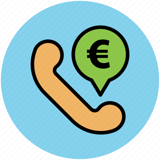 business consulting, euro sign, infographic element, telephone receiver, telephonic consulting, web element icon