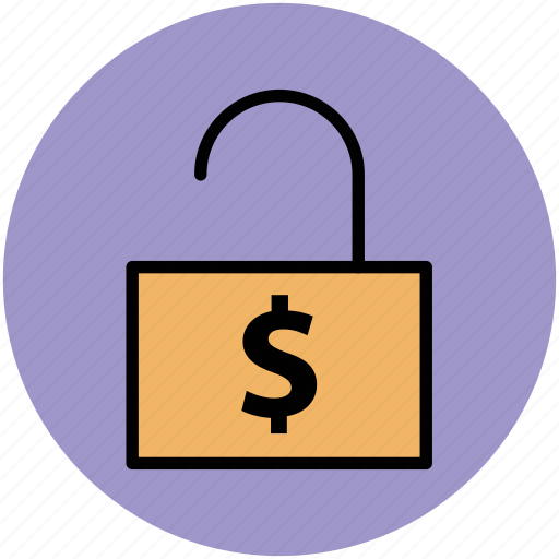 banking, finance, money protection, open lock, unlocked icon