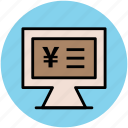financial concept, infographic element online business, monitor screen, yen display icon