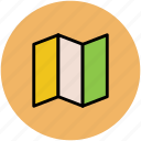 cardboard, gps, map, mapping, navigation, unfolded map icon