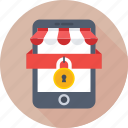 eshop, m commerce, mobile, secure app, security icon