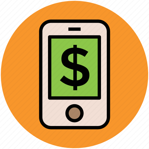 currency, dollar, finance, investment, mobile, online business icon