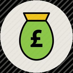 finance, investment, money pouch, money sack, pound, saving icon