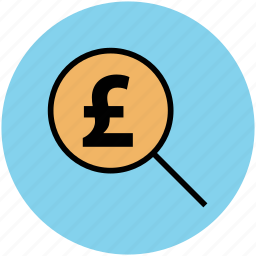 business, magnifying, money, pound, searching finance, zoom icon