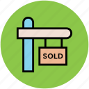 info, information, real estate, signboard, sold icon