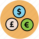 currency signs, currency symbols, dollar, euro, finance, money, pound icon