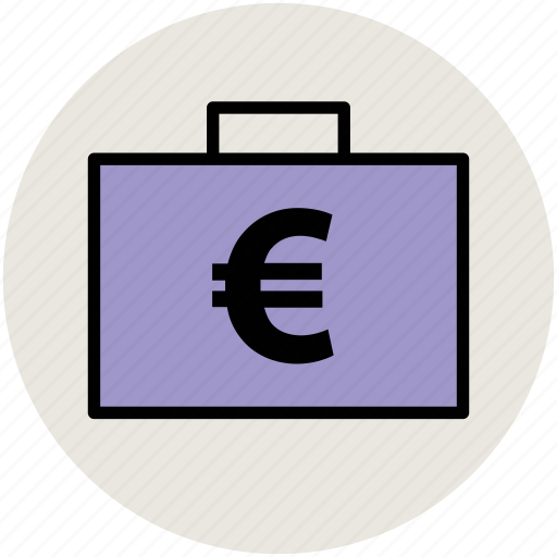 euro bag, euro sign, finance, money bag icon