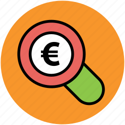 business, euro, magnifying, money, searching finance, zoom icon