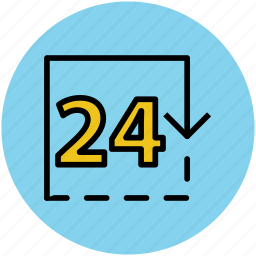 hours, information, notice, service, time, timetable, twenty four hours icon