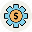 business tools, dollar sign, economy indication, gear, investment plan, money plan icon