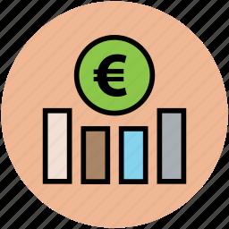 analysis, analytics, euro graph, finance, financial chart, statistics icon