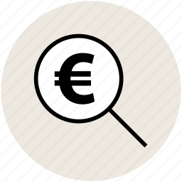 business, euro sign, magnifying, money, searching finance, zoom icon