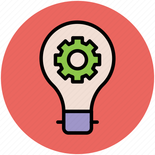 bulb with cog, bulb with gear, idea symbol, mechanical, technology, vision icon