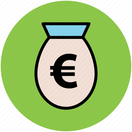 euro, finance, investment, money pouch, money sack, saving icon