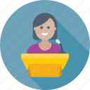 conference, female speaker, presentation, public speaker, speech icon