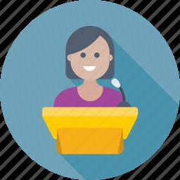 conference, female speaker, presentation, public speaker, speech icon