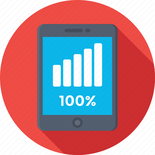 100%, bar graph, battery full, mobile signals, signals icon