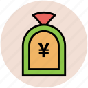 finance, investment, money pouch, money sack, saving, yen sign icon