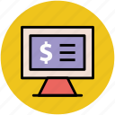 dollar display, financial concept, infographic element online business, monitor screen icon