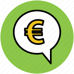 business communication, chat, communication, euro sign, financial discussion, speech bubble icon