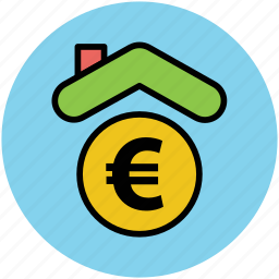 bank, banking concept, euro, finance, house, insurance icon