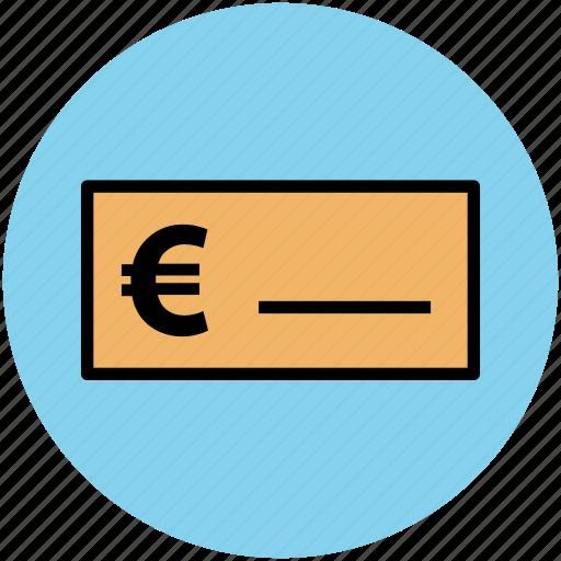 bank receipt, bank slip, bill, euro sign, invoice, voucher icon