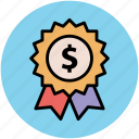award, business achievement, dollar sign, financial concept, investment, ribbon badge, stamp icon
