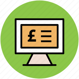 financial concept, infographic element online business, monitor screen, pound display icon